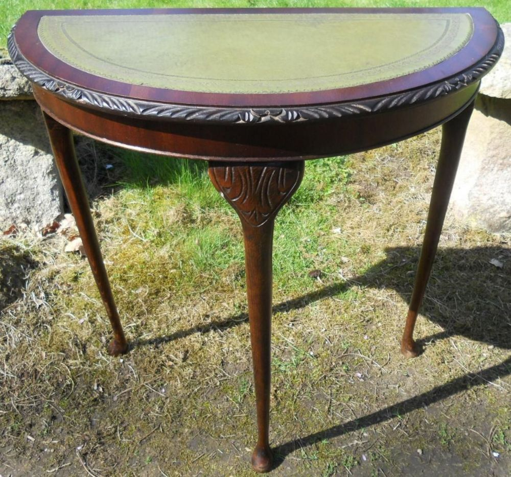 Small Leather Top Mahogany Console Table
